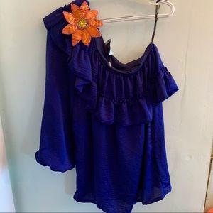 •Judith March• One Shoulder Ruffle Dress